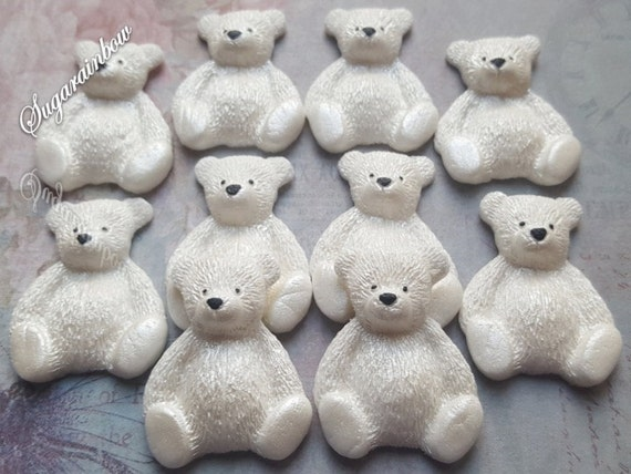 10 Edible sugar teddy bears christening baby shower birthday party decorations cake cupcake toppers White (Pearl AIRBRUSHED)