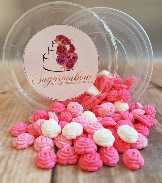 70 tiny sugar paste fondant roses sprinkles flowers cake cupcake toppers decorations pink white colours