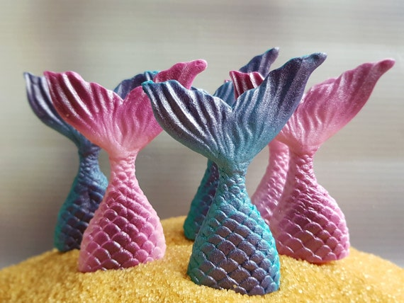 6 edible fondant  sugar paste mermaid tails beach party cake cupcake decorations toppers Teal/Pink