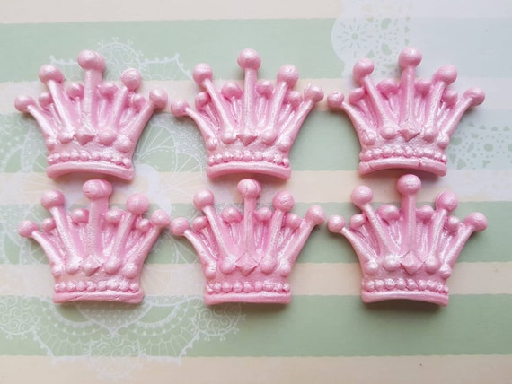 6 edible sugar paste fondant pink crown tiara cake cupcake topper decorations