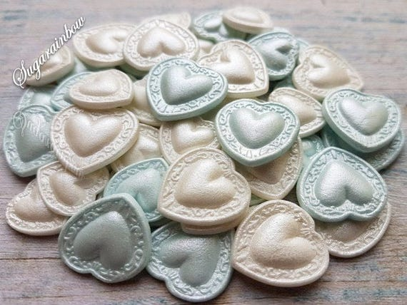 50 Edible sugar decorations hearts baby shower christening baptism love cake cupcake toppers blue white AIRBRUSHED pearl