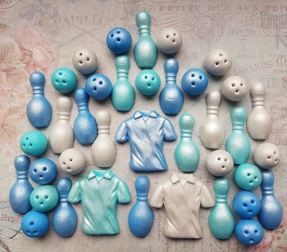 Sugar bowling topper, bowling cake topper, sugar pins, sugar bowling ball, bowling party, fondant bowling topper. SETv of 43 pieces