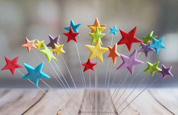 24 Edible sugar stars on wires wired stars multicolored cake cupcake toppers