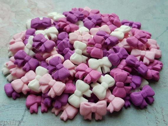 100 Edible sugar tiny ribbons bows cake cupcake cake pops toppers decorations purple/pink/white