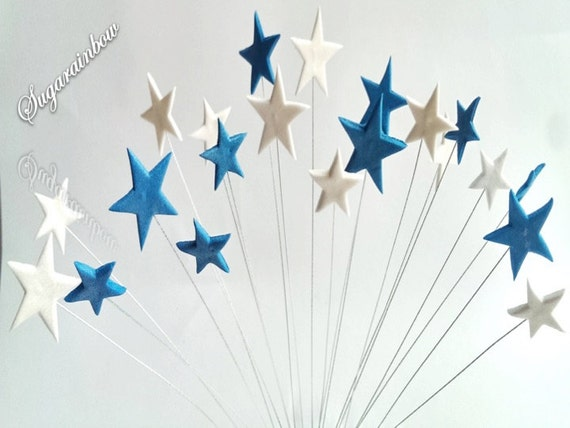 20 Edible sugar stars on wires cake cupcake toppers