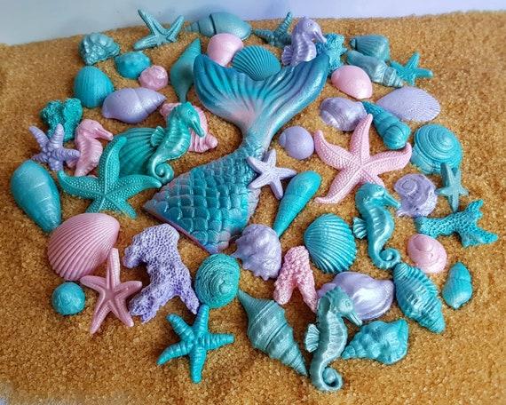 51 Edible sugar fondant shells starfish seahorse corals mermaid tail cake cupcake topper decorations pink purple teal