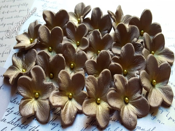 20 Edible sugar paste flowers cake cupcake toppers decorations Brown/Gold  (AIRBRUSHED)