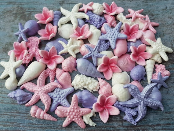 65 Edible sugar paste fondant cake decorations shells seahorse starfishes corals pearls cake cupcake toppers pink violet white