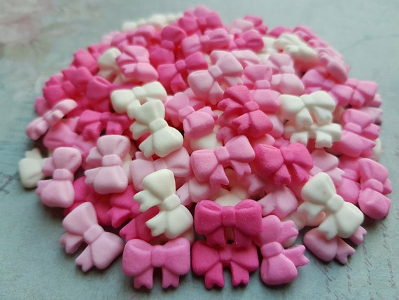 100 Edible sugar tiny ribbons bows cake cupcake cake pops toppers decorations pink/white