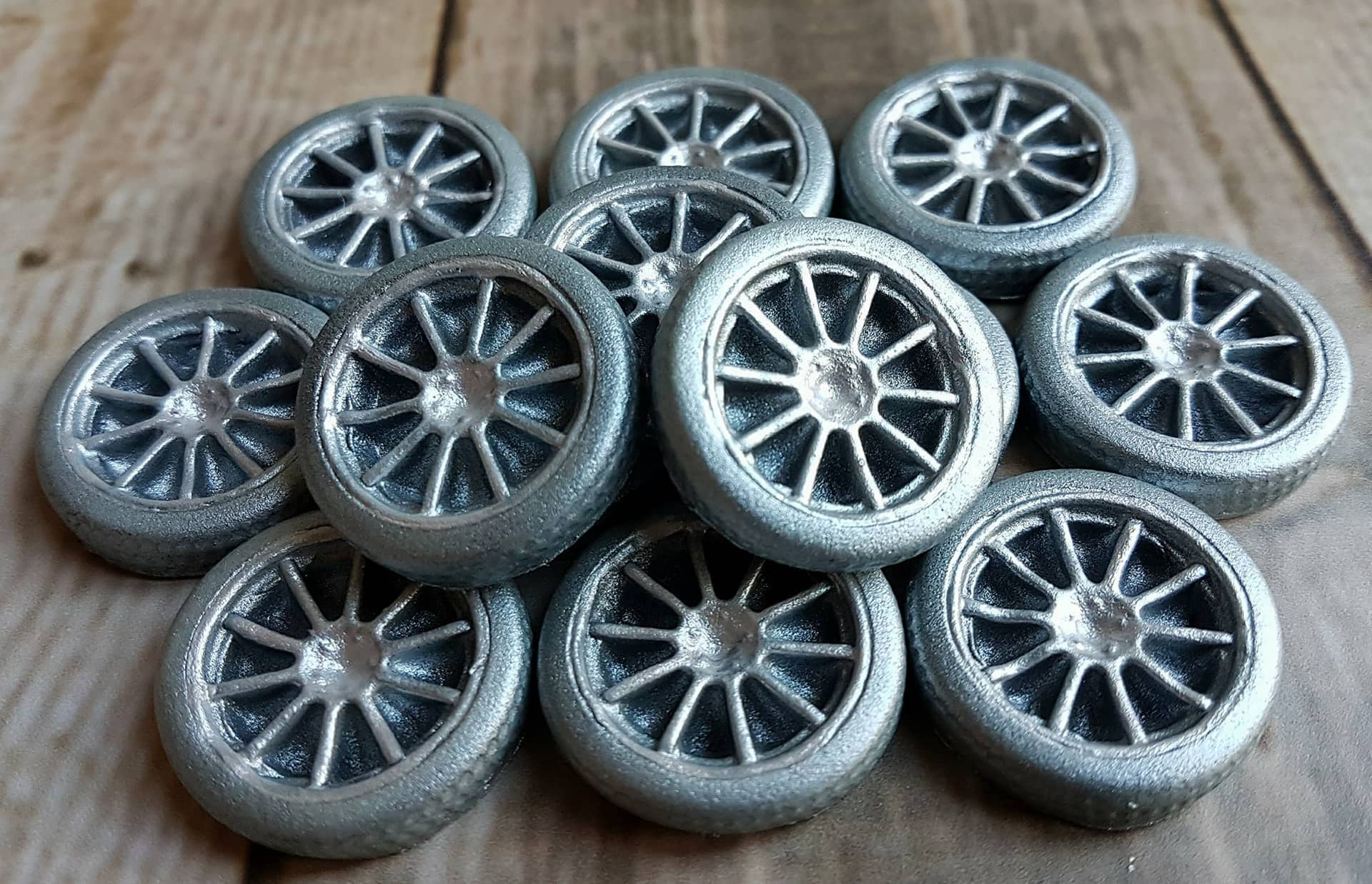 12 Edible Sugar Tires Wheels Cake Cupcake Toppers Decorations Mens Birthday Party