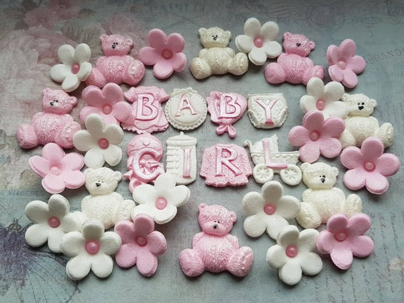 Edible sugar decorations baby shower christening nursery cake cupcake toppers Pink/White Baby girl