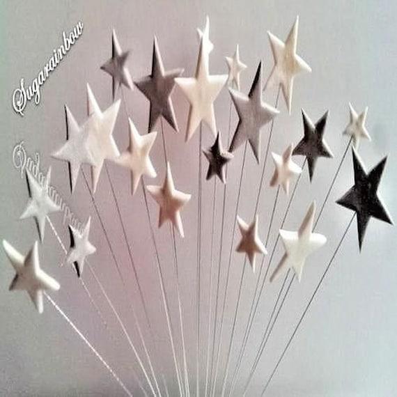 24 Edible sugar fondant stars on wires cake cupcake topper decorations silver white