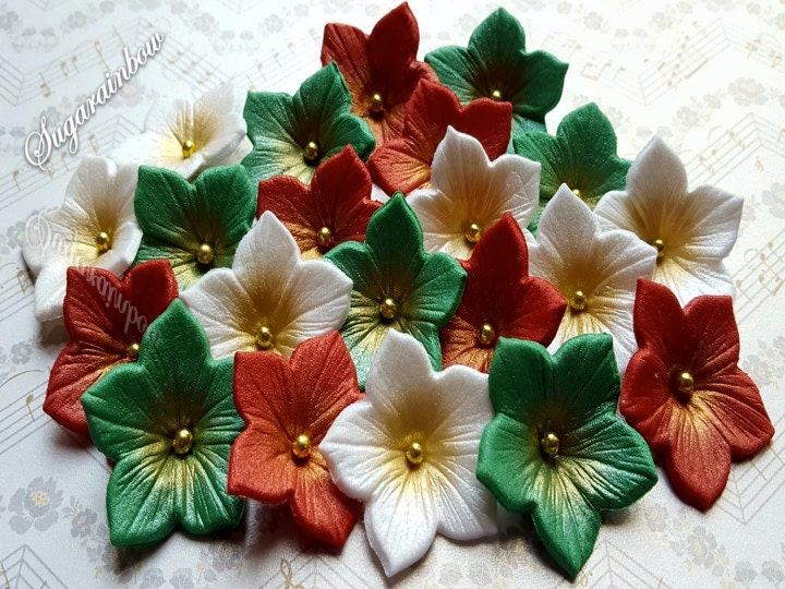 20 edible sugar petunia christmas flowers decorations cake cupcake toppers christmas greenredwhite airbrushed - White Christmas Flower Decorations