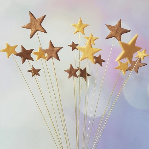 24 Edible sugar fondant gum paste stars on wires cake toppers decorations wired