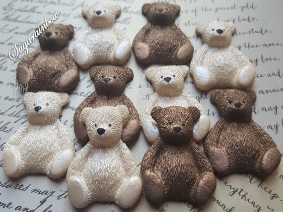 12 Edible sugar teddy bears christening baby shower birthday party decorations cake cupcake toppers Ivory/Brown (AIRBRUSHED)