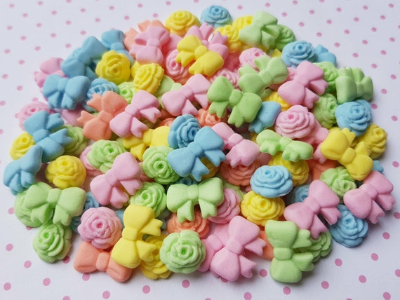 100 edible sugar gum paste fondant roses flowers cake cupcake topper decorations