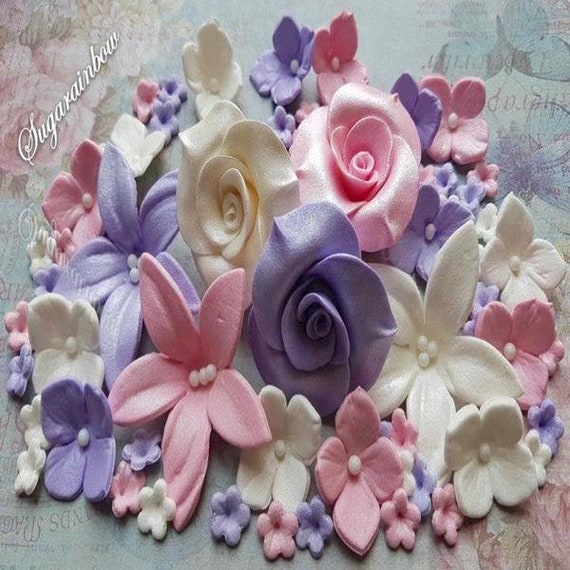 78 edible sugar paste flowers roses lilies hydrangea cake cupcake toppers decorations Pink/Violet/White