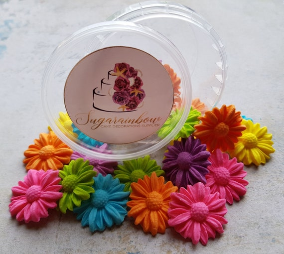 20 Edible sugar paste fondant flowers blossoms daisies cake cupcake toppers decorations bright colours