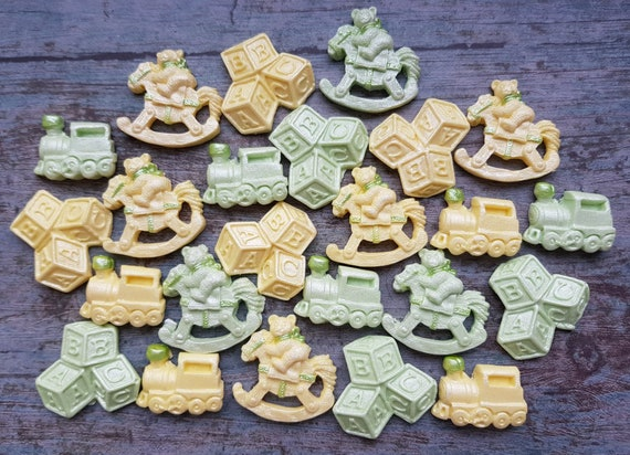 24 Edible sugar fondant baby shower christening decorations bricks teddy riding horse train cake cupcake toppers decorations