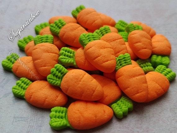 25 Edible sugar paste fondant carrots vegetables decorations cake cupcake toppers