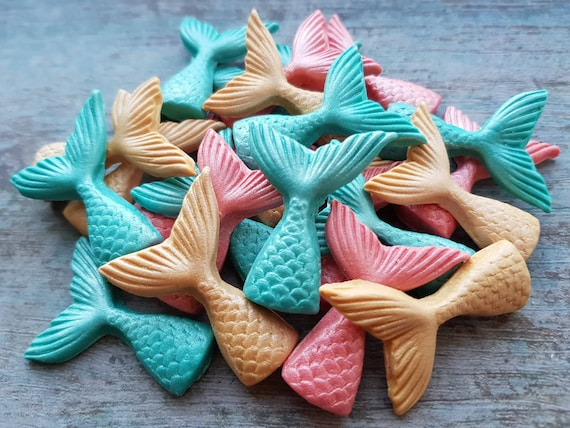 24 edible fondant  sugar mermaid tails beach party cake cupcake decorations toppers coral teal gold with pearl shimmer