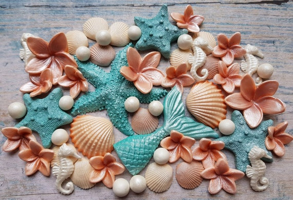 50 Edible sugar paste fondant shells starfish (large) seahorse mermaid tail plumeria pearls cake toppers decorations