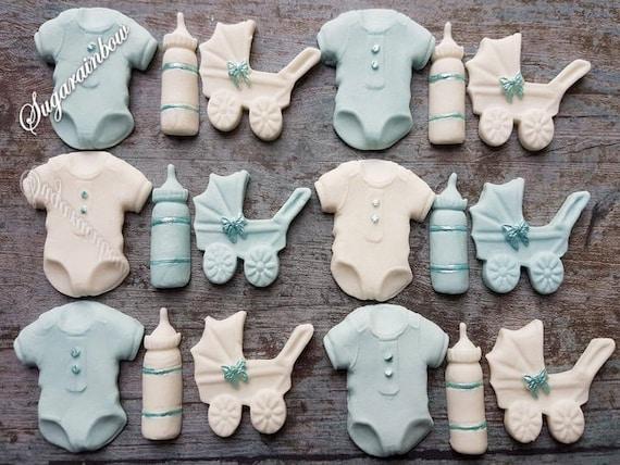 16 Edible sugar baby shower christening pram bodysuits bottles cake cupcake toppers decorations blue/white