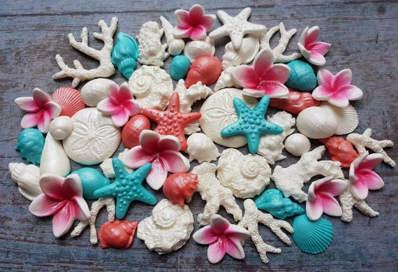 Edible sugar paste fondant cake decorations shells starfishes corals cake cupcake toppers decorations