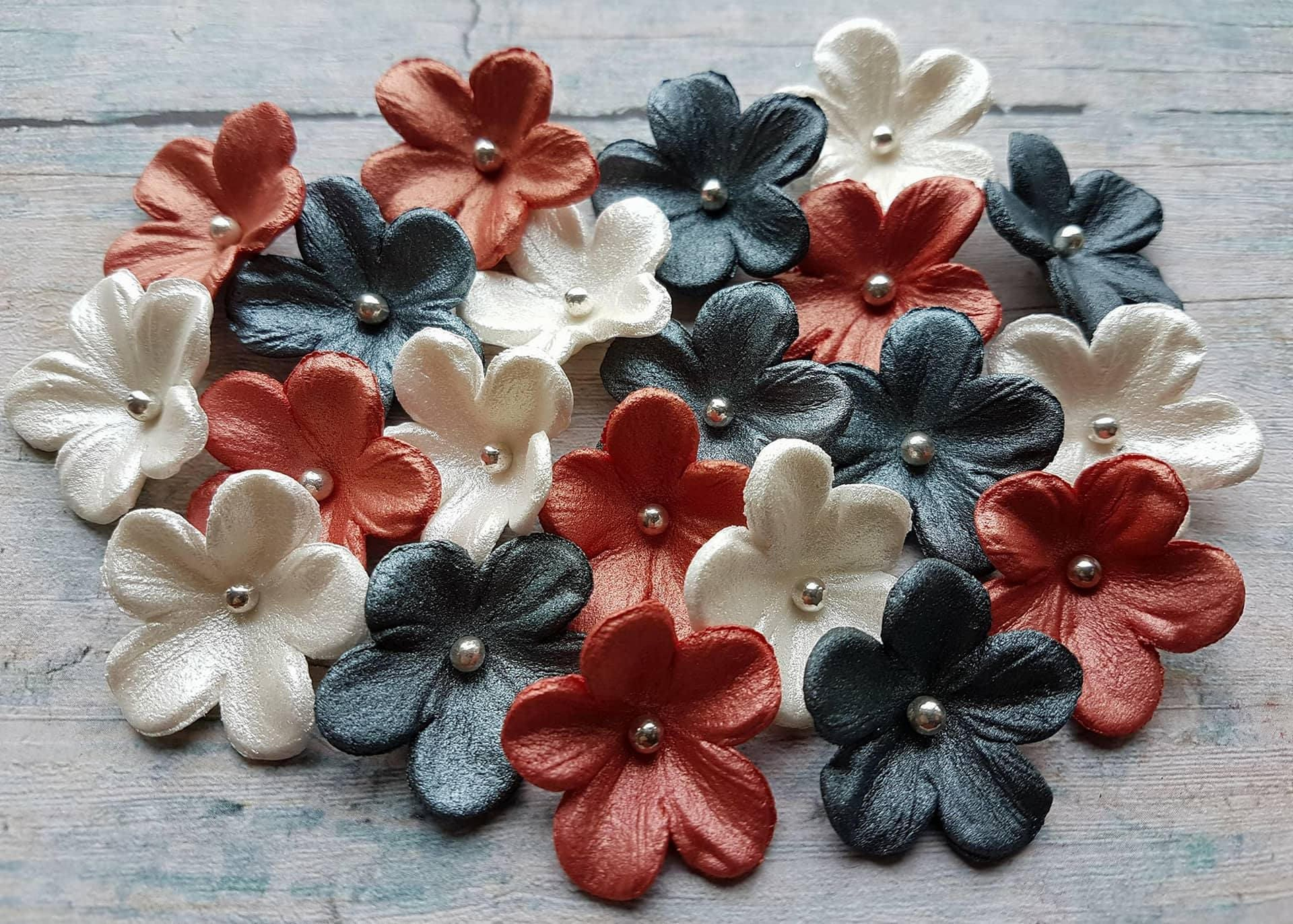 20 edible sugar paste fondant flowers red black white cake cupcake 20 edible sugar paste fondant flowers red black white cake cupcake toppers decorations perl finished mightylinksfo