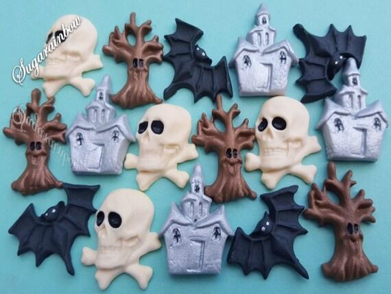 12 Edible halloween cupcake cake decorations toppers skulls bats tree house