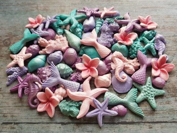 71 Edible sugar paste fondant cake decorations shells seahorse starfishes corals plumeria frangipani cake cupcake toppers pink purple teal