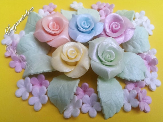 Edible sugar roses leaves flowers pastel colors cake cupcake toppers decorations