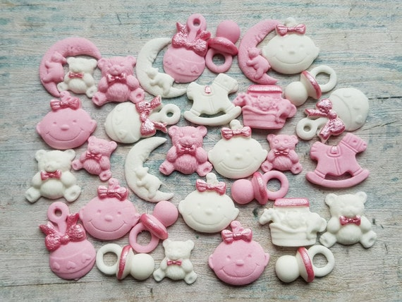 30 Edible sugar baby girl christening baby shower baptism cake cupcake toppers decorations