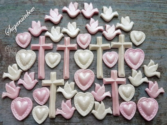 41 Edible sugar decorations crosses doves pigeons hearts baby shower christening cake cupcake toppers AIRBRUSHED pearl