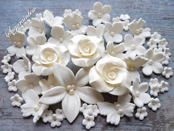 60 Edible fondant sugar flowers roses butterflies cake cupcake toppers decorations