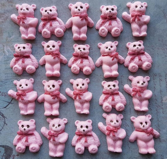 20 Edible sugar decorations for christening baby shower birthday party  teddy bear for cake cupcake toppers