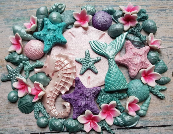 Edible sugar paste fondant shells starfish (large) seahorse mermaid tail plumeria corals cake toppers decorations