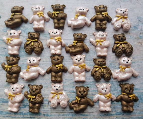24 Edible sugar decorations for christening baby shower birthday party  teddy bear for cake cupcake toppers