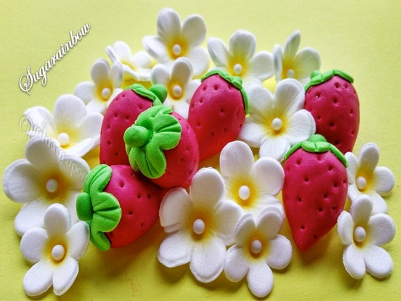 Edible sugar strawberries and flowers cake cupcake decorations summer theme kids party decor