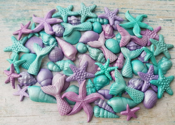 66 Edible sugar paste fondant cake decorations shells starfishes mermaid tails cake cupcake toppers teal purple ocean colours