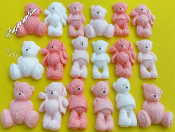 22 Edible sugar AIRBRUSHED baby shower decorations teddy bears cake toppers White/Peach/Light peach