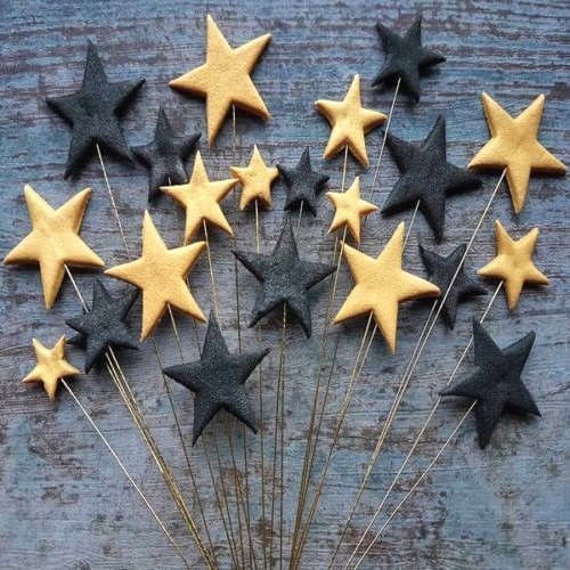 24 Edible sugar paste fondant stars on wires cake toppers decorations gold black on gold wires