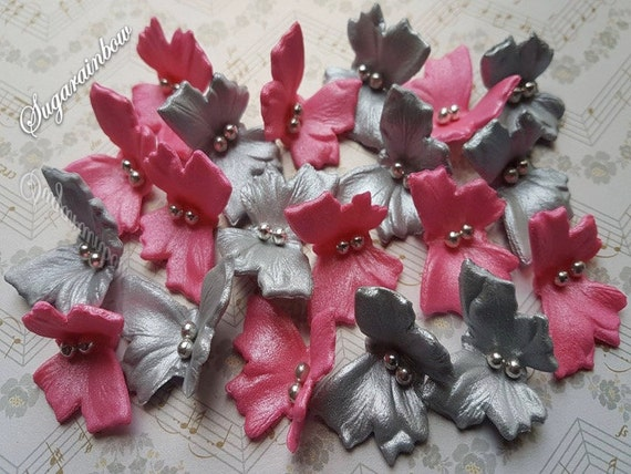 20 Edible sugar butterflies AIRBRUSHED cake cupcake toppers decorations Hot pink/Silver