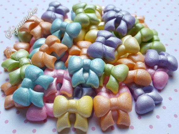 50 Edible sugar tiny ribbons bows cake cupcake toppers decorations  AIRBRUSHED