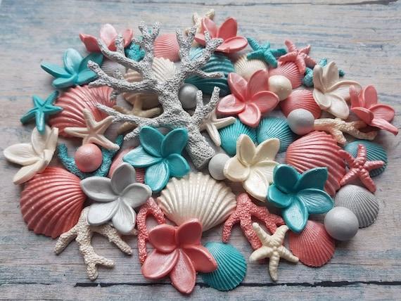 Edible sugar cake decorations clam shells frangipani plumeria corals pearls  cake cupcake toppers