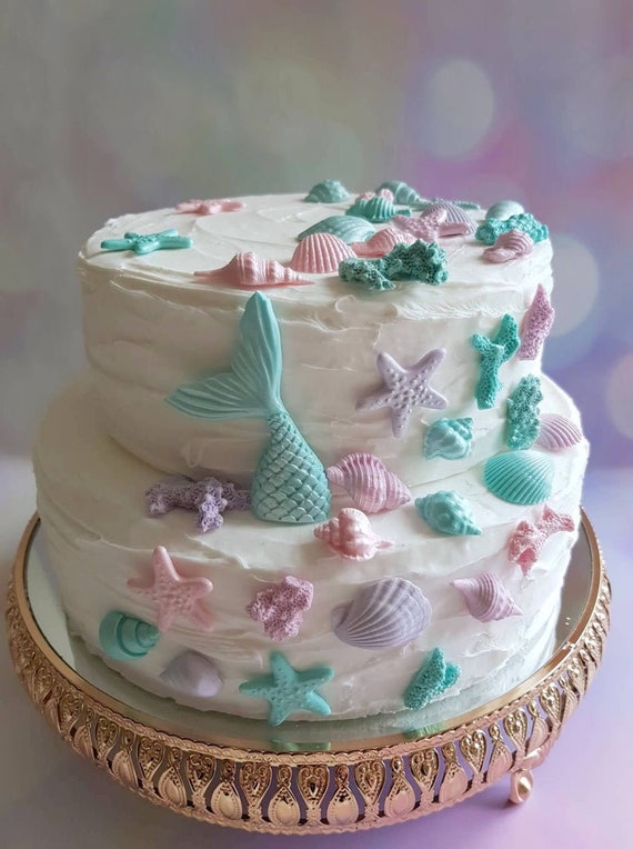 Shells and Sprinkles Cake Decorations Mermaid Tails Edible Pink Mermaid Tails