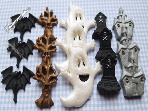 15 Edible halloween cupcake cake decorations toppers bats tree houses tombs  ghosts
