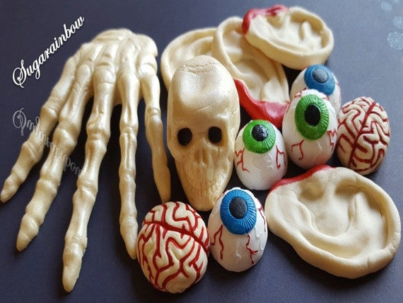 Edible sugar Halloween cake decorations hand skull (3D) ears brain eyes cake cupcake toppers decorations