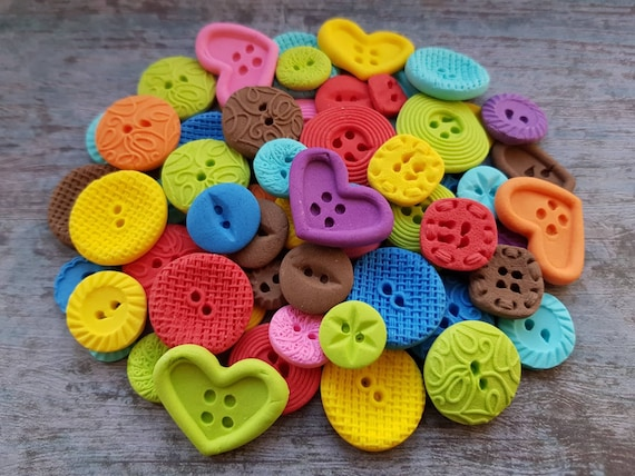 60 Edible sugar paste fondant buttons cake cupcake topper decorations multicoloured