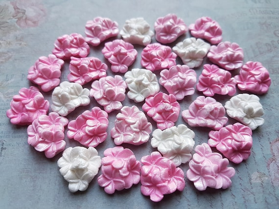 36 edible sugar paste fondant plumeria flowers cake cupcake toppers decorations pink
